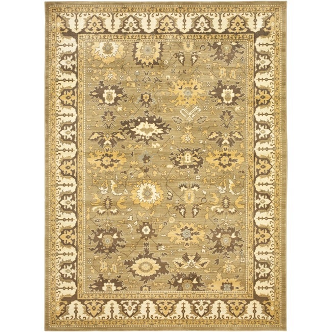 Safavieh Oushak Green/ Brown Powerloomed Rug (9'6 x 13')