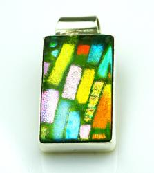 Sterling Silver Dichroic Glass Pendant (Mexico) - Thumbnail 1