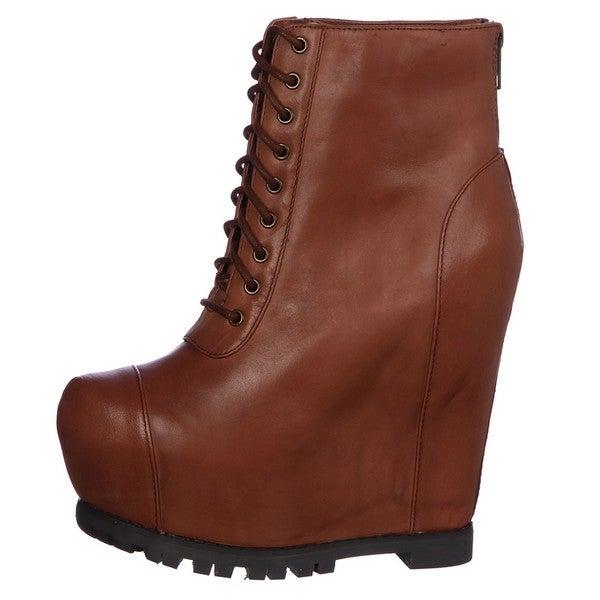 316c67b70e0 Shop Steve Madden Women's 'Armenda' Cognac Lace-up Wedge Boots FINAL ...