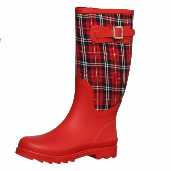 Unique  Womens Black Rubber And Plaid Elderford Rain Boots  Tommp