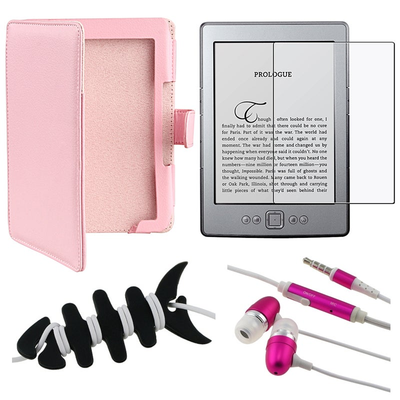 BasAcc Pink Leather Case/ Protector/ Headset/ Wrap for Amazon Kindle 4 - Thumbnail 0