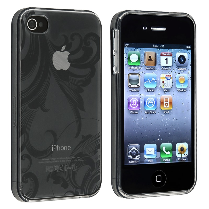 Clear Smoke Flower TPU Rubber Skin Case for Apple iPhone 4/ 4S - Thumbnail 0