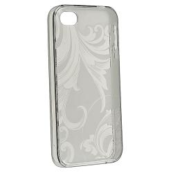 Clear Smoke Flower TPU Rubber Skin Case for Apple iPhone 4/ 4S - Thumbnail 2