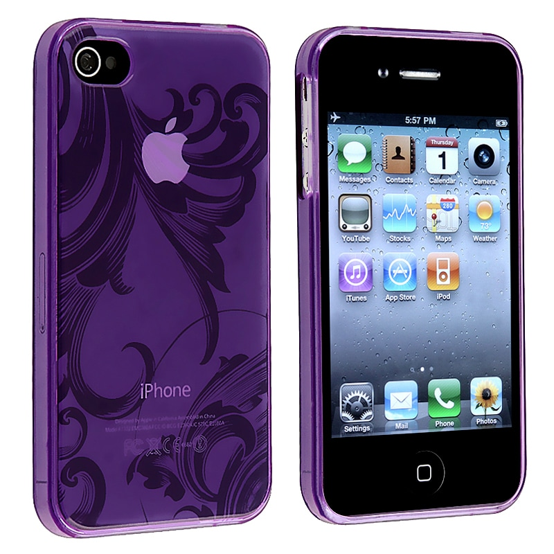 Clear Purple Flower TPU Rubber Skin Case for Apple iPhone 4/ 4S