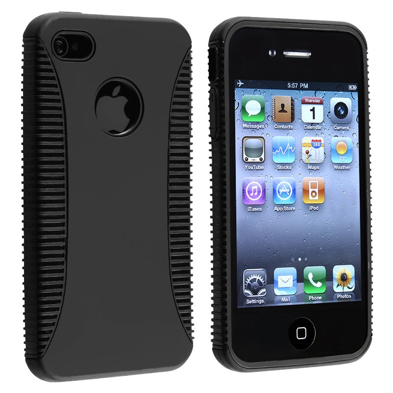 Black TPU/ Plastic Hybrid Case for Apple iPhone 4/ 4S - Thumbnail 0