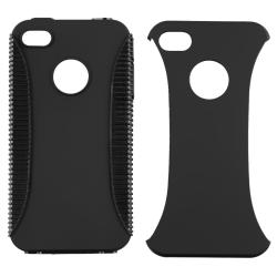 Black TPU/ Plastic Hybrid Case for Apple iPhone 4/ 4S