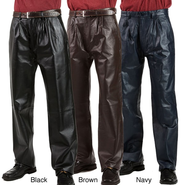 United Face Men's Pleated Leather Pants - Free Shipping Today ...