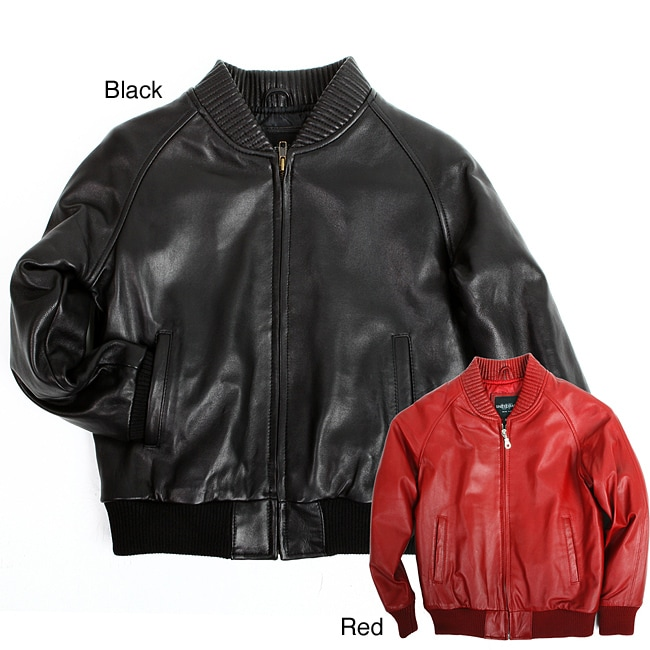 United Face Toddler Boy's Lambskin Leather Baseball Jacket - Free ...