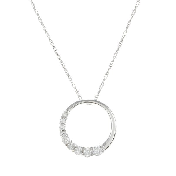 14k White Gold 1/3ct TDW Diamond Journey Circle Necklace (G-H, I1)