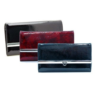 Dasein Faux Leather Shiny Checkbook Wallet