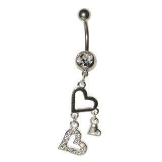 Supreme Jewelry Surgical Steel 14G Clear Cubic Zirconia Dangling Heart Belly Ring