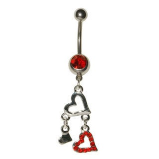 Supreme Jewelry Surgical Steel 14G Red Round-Cut Cubic Zirconia Dangling Heart Belly Ring