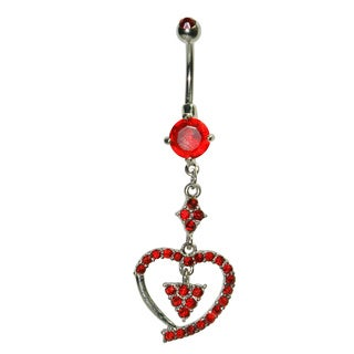Supreme Jewelry Surgical Steel 14G Red Cubic Zirconia Dangling Heart Belly Ring