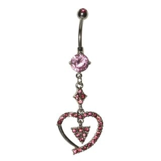 Supreme Jewelry Surgical Steel 14G Pink Cubic Zirconia Dangling Heart Belly Ring