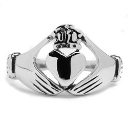 Oliveti Stainless Steel Cast Irish Claddagh Ring - Thumbnail 1