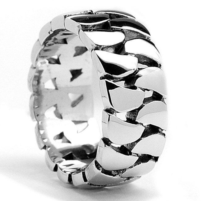 Oliveti Stainless Steel Cast Cuban Curb Link Ring