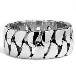 Oliveti Stainless Steel Cast Cuban Curb Link Ring - Thumbnail 1