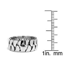 Oliveti Stainless Steel Cast Cuban Curb Link Ring - Thumbnail 2