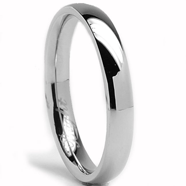 Oliveti Stainless Steel Classic Dome Wedding Band Ring (3 mm)