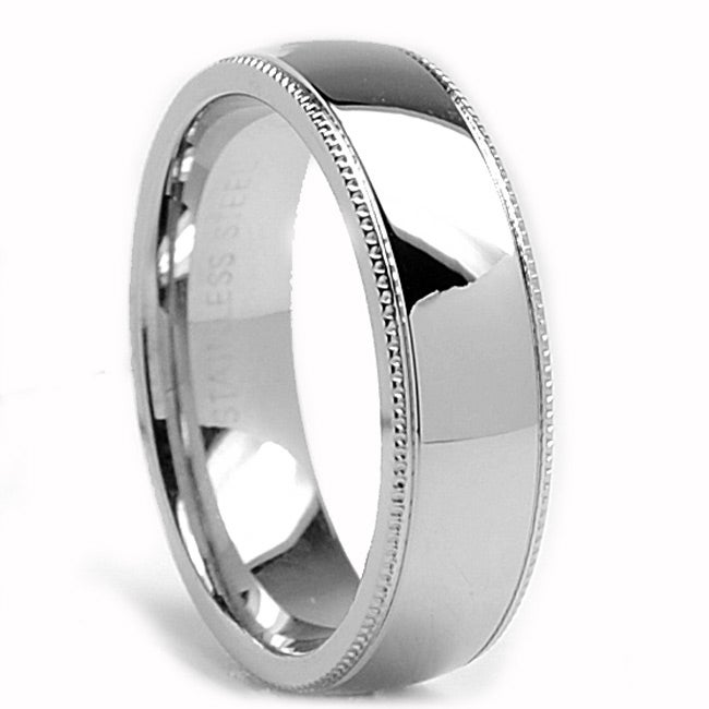 Oliveti Stainless Steel Classic Dome Millegrained Wedding Band Ring (6 mm) - Thumbnail 0