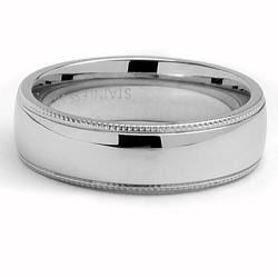 Oliveti Stainless Steel Classic Dome Millegrained Wedding Band Ring (6 mm) - Thumbnail 1