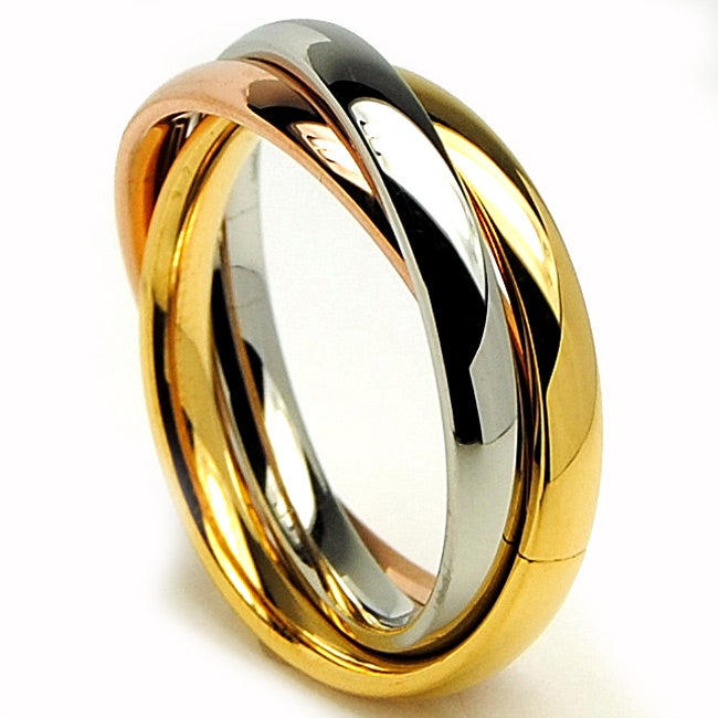Oliveti Stainless Steel Tri-color Love Trinity Wedding Band