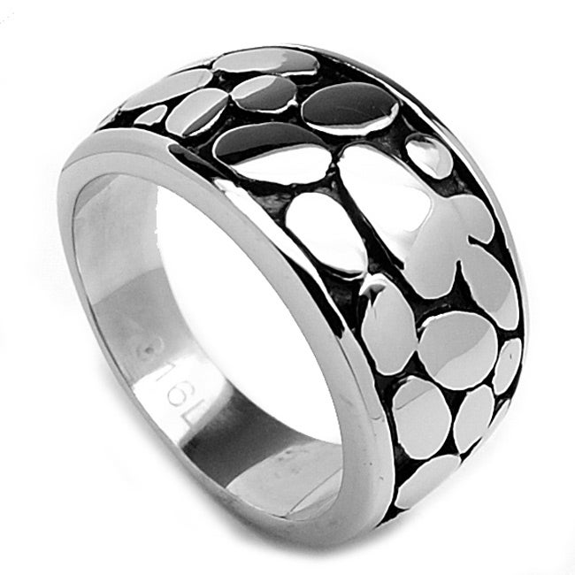 Oliveti Stainless Steel Cast Tapered Nugget Ring