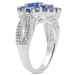 Malaika Sterling Silver Tanzanite Cluster Ring (1 3/4ct TGW) - Thumbnail 1