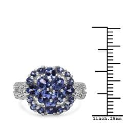 Malaika Sterling Silver Tanzanite Cluster Ring (1 3/4ct TGW) - Thumbnail 2