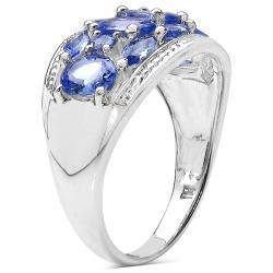 Malaika Sterling Silver Tanzanite Cluster Ring (1 4/5ct TGW) - Thumbnail 1