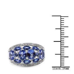 Malaika Sterling Silver Tanzanite Cluster Ring (1 4/5ct TGW) - Thumbnail 2