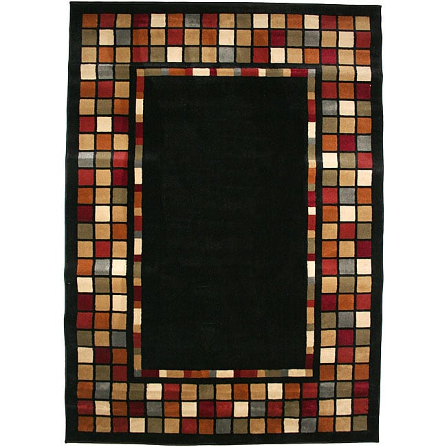 Contemporary Geometric Courtyard Black Multicolor Area Rug (7'10 x 9'10) - Thumbnail 0