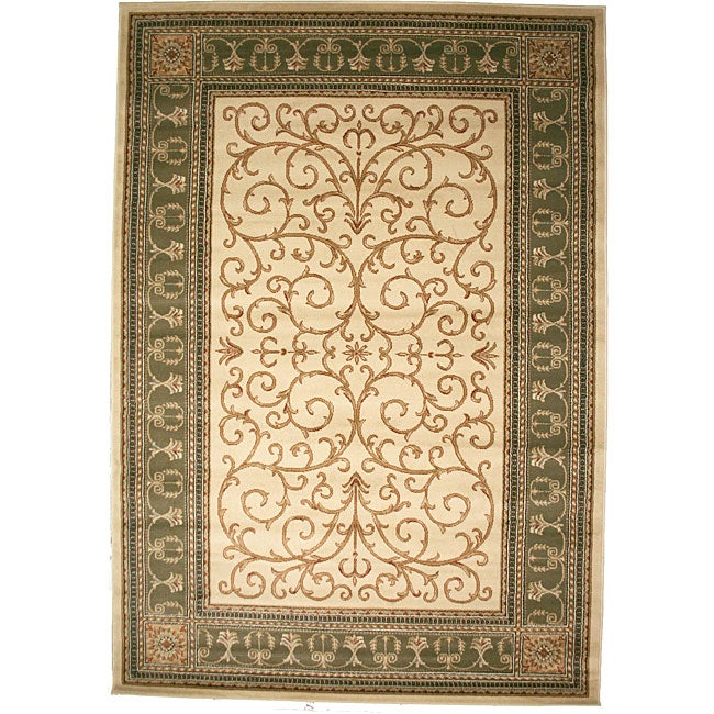 Transitional Border Paloma Antique Sage Area Rug (5'3 x 7'7)