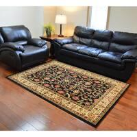 Traditional Oriental Keshan Black Area Rug - 7'10 x 9'10