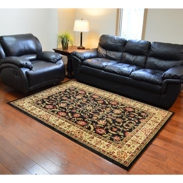 Traditional Oriental Keshan Black Area Rug (7'10 x 9'10)