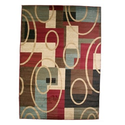Contemporary Geometric Broadway Multicolored Area Rug - 7'10 x 9'10 - Thumbnail 0