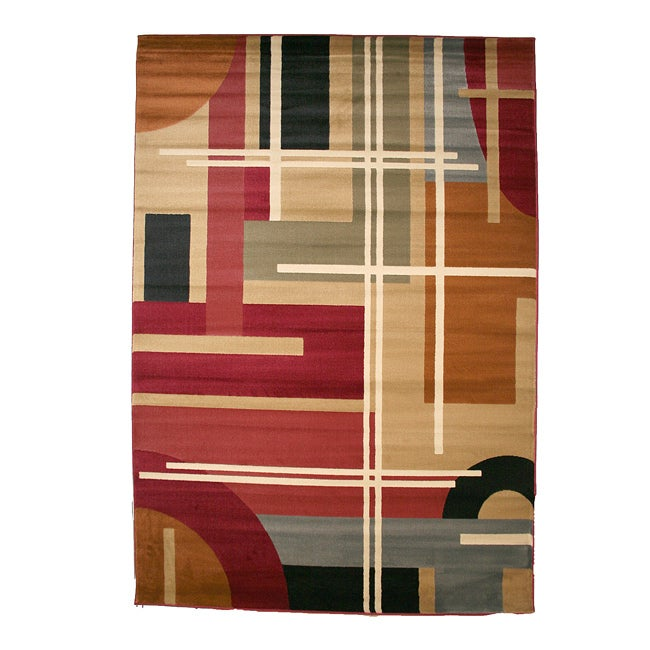 Contemporary Geometric Multicolor Area Rug (7'10 x 9'10)