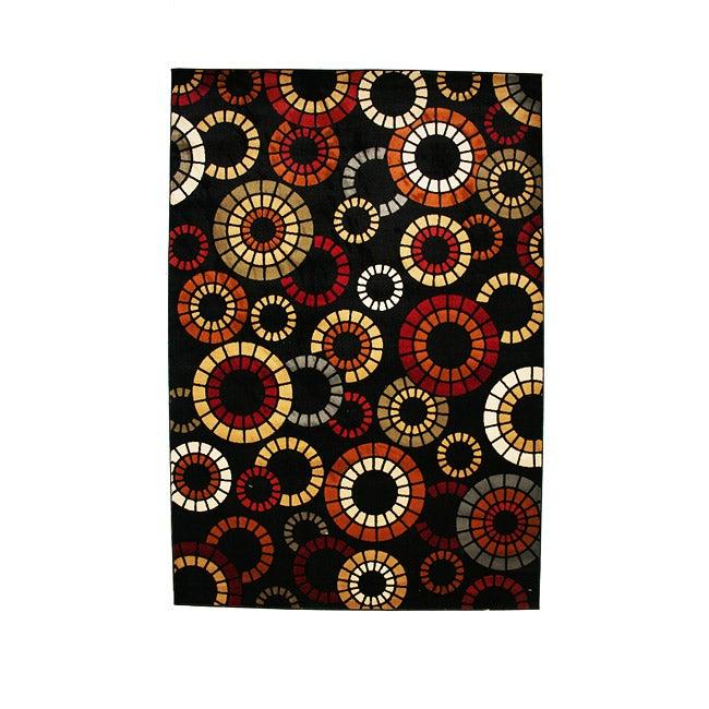 Contemporary Geometric Fireworks Multicolor Area Rug (5'3 x 7'7)