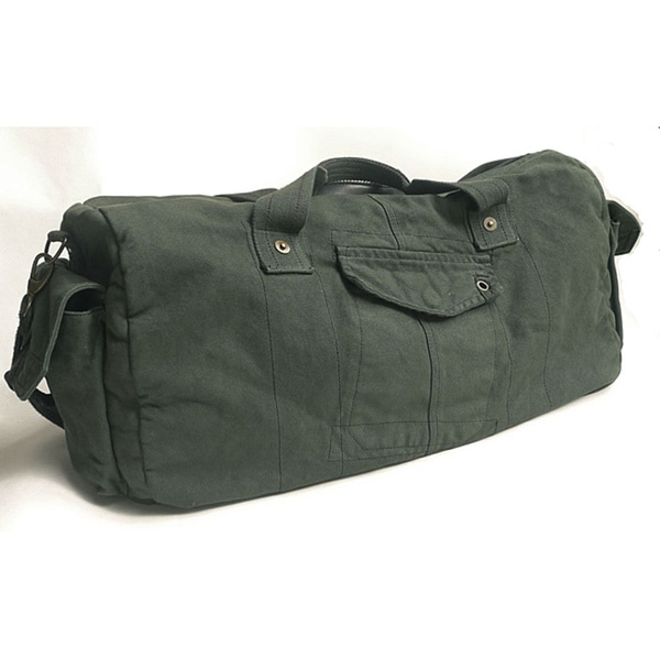 'Voyage' 20-inch Pewter Washed Cotton Canvas Duffle Bag