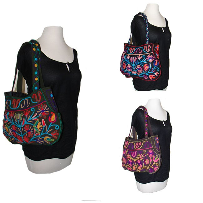 Colorful Hand-embroidered Zipper-entry Cotton Shoulder Bag (Nepal)