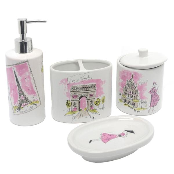 Waverly 'Tres Chic' Ceramic Bath Accessory 4-piece Set