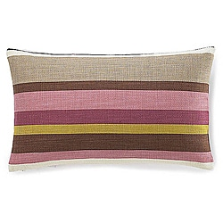 12 x 20-inch Hosta Stripes Alabaster Cotton Decorative Pillow