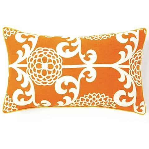 Jiti Floret Orange Cotton Decorative Pillow - 12 x 20