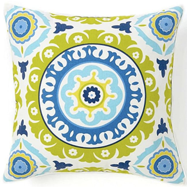 Suzani Henna Cotton Square 18-inch Decorative Pillow - Thumbnail 0