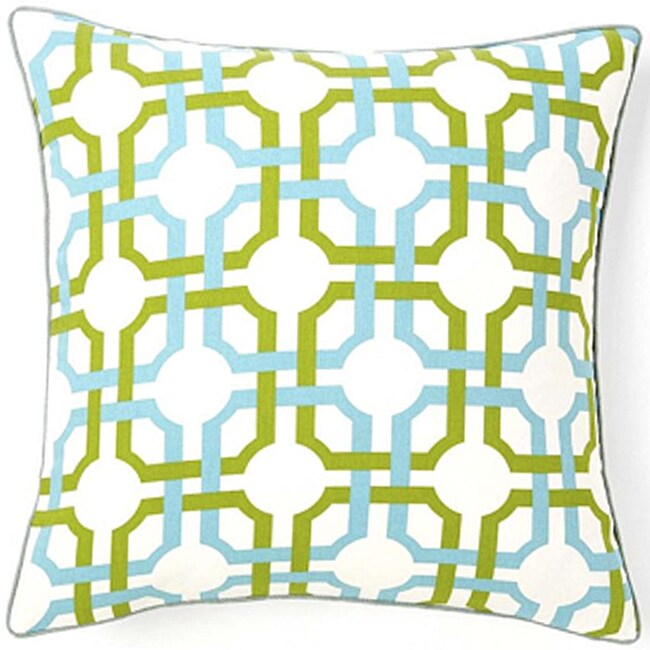 Grille Confetti White/Blue/Green Cotton Decorative Pillow