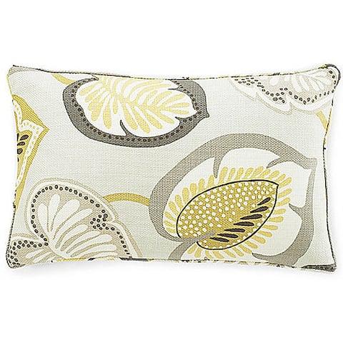 Jiti Yellow Hosta Lily Floral Celedon Cotton Decorative Pillow - 12 x 20
