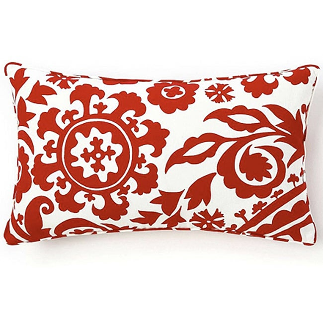 12 x 20-inch Red Siggi Suzani Decorative Pillow - Thumbnail 0