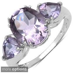 Malaika Sterling Silver Oval-cut Prong-set Gemstone Fashion Ring