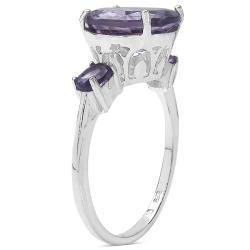 Malaika Sterling Silver Genuine Amethyst Ring (3 3/4ct TGW) - Thumbnail 1