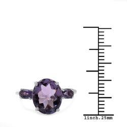 Malaika Sterling Silver Genuine Amethyst Ring (3 3/4ct TGW) - Thumbnail 2